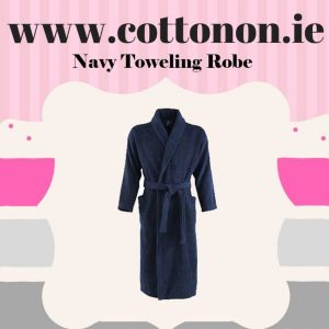 Navy Towelling Bathrobe unisex, 100% Cotton Personalised embroidered birthday anniversary Fathers day Best dad ever, Cotton On Gifts