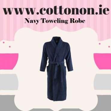 Navy Towelling Bathrobe