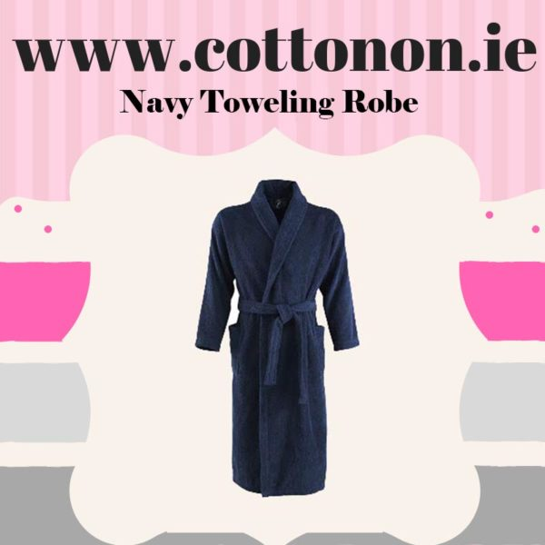 Large XXLarge Adult White Cotton Towelling Bathroom Robe available in Medium