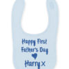 Fathers Day Bib personalised embroidered baby gift new born babygift delivered name cotton on Pink Blue White