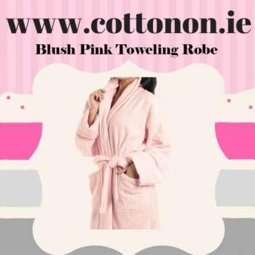 Blush Pink Towelling Bathrobe
