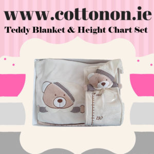 Teddy Blanket and height chart Box Set personalised embroidered baby gift blanket teddy new born babygift delivered boxset name date of birth cotton on Cream