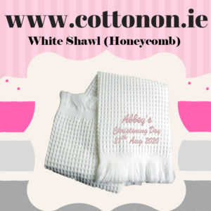 White Personalised Christening Shawl Honeycomb Cotton On Embroidered Keepsake Christening gift Christening Day