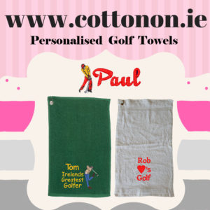 Personalised Golf Towel embroidered Father's Day gift delivered name golferd cotton on Cream Green Navy Red White
