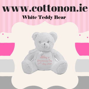 White Teddy Bear Personalised Christening Gift Cotton On Embroidered Keepsake Christening gift Christening Day