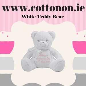 White Teddy Bear Personalised Christening Gift Cotton On Embroidered Keepsake Christening gift Christening Day