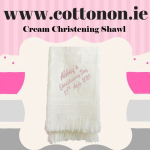 Cream Personalised Christening Shawl Honeycomb Cotton On Embroidered Keepsake Christening gift Christening Day Personalised Gifts Ireland