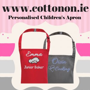 personalised embroidered Childrens Apron Christmas giftdelivered name cotton on Personalised gifts Ireland