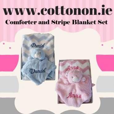 Comforter and Stripe Blanket Set