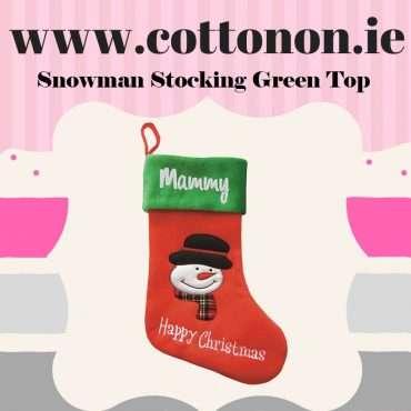 Snowman Stocking Green Top