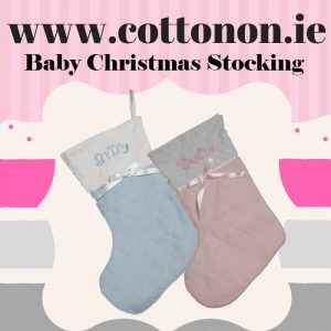 baby Christmas Stocking embroidered Personalised Christmas Sock Santa Stocking Pink Blue Personalised Christmas stocking Cotton On Personalised Christmas Gifts Ireland