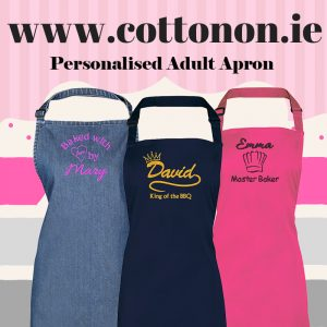personalised embroidered Adult Apron Christmas gift delivered name cotton on Personalised gifts Ireland