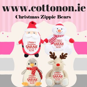 New Personalised Christmas Zippie Bears embroidered Personalised Santa embroidered Personalised Snowman embroidered Personalised Penguin embroidered Personalised Reindeer Cotton On Personalised Christmas gifts Ireland