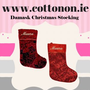 Damask Christmas Stocking with embroidery Personalised Christmas Stocking Santa Stocking