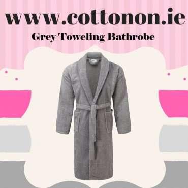 Grey Towelling Bathrobe