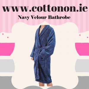 Navy Towelling Velour Finish Bathrobe unisex, 100% Cotton Personalised embroidered birthday anniversary Fathers day Best dad ever, Cotton On Gifts