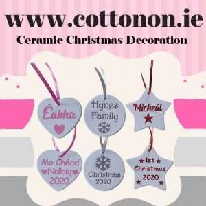 Personalised Ceramic Christmas Tree Decoration Heart Star Bauble Glitter snowflake Personalised decoration Ireland Cotton On