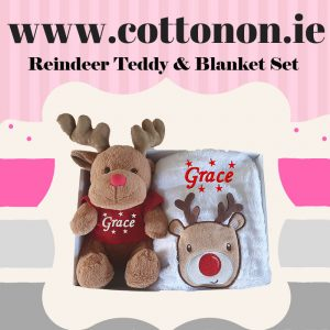 Reindeer Teddy and Blanket Box Set personalised embroidered baby gift blanket teddy babygift delivered boxset name cotton on Personalsied Christmas Gifts Ireland