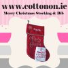 Personalised Merry Christmas Stocking embroidery Personalised Santa Stocking Xmas Stocking Red Merry Christmas Cotton On Personalised Christmas gifts Ireland Baby's first Christmas bib
