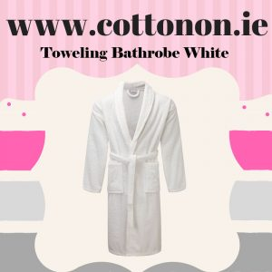 Towelling Bathrobe White unisex, 100% Cotton Personalised embroidered birthday anniversary Cotton On Gifts