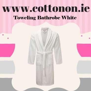 Towelling Bathrobe White