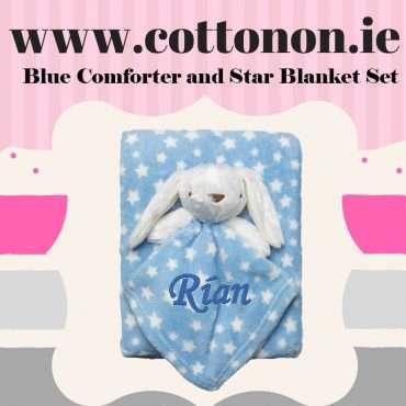 Blue Comforter and Star Blanket Set
